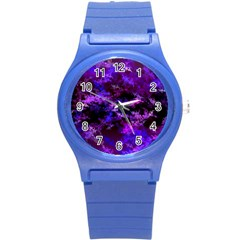 Purple Skulls Goth Storm Plastic Sport Watch (small) by KirstenStar