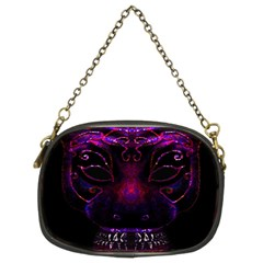 Creepy Cat Mask Portrait Print Chain Purse (two Sided)
