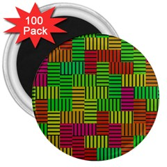 Colorful Stripes And Squares 3  Magnet (100 Pack)