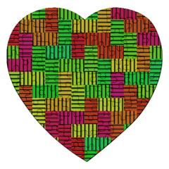 Colorful Stripes And Squares Jigsaw Puzzle (heart) by LalyLauraFLM