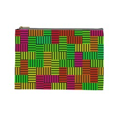 Colorful Stripes And Squares Cosmetic Bag (large) by LalyLauraFLM