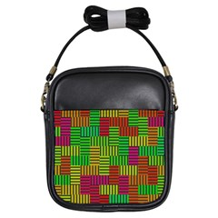 Colorful Stripes And Squares Girls Sling Bag by LalyLauraFLM