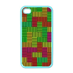 Colorful Stripes And Squares Apple Iphone 4 Case (color) by LalyLauraFLM