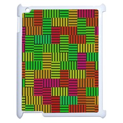 Colorful Stripes And Squares Apple Ipad 2 Case (white) by LalyLauraFLM