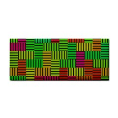 Colorful Stripes And Squares Hand Towel by LalyLauraFLM