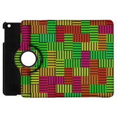 Colorful Stripes And Squares Apple Ipad Mini Flip 360 Case by LalyLauraFLM