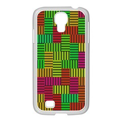 Colorful Stripes And Squares Samsung Galaxy S4 I9500/ I9505 Case (white)