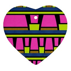 Trapeze And Stripes Heart Ornament (two Sides) by LalyLauraFLM