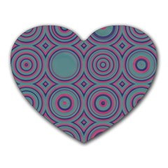 Concentric Circles Pattern Heart Mousepad by LalyLauraFLM