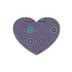 Concentric Circles Pattern Heart Coaster (4 Pack) by LalyLauraFLM