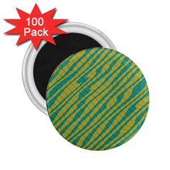 Blue Yellow Waves 2 25  Magnet (100 Pack)  by LalyLauraFLM