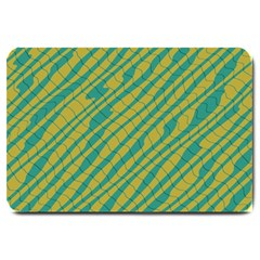 Blue Yellow Waves Large Doormat by LalyLauraFLM
