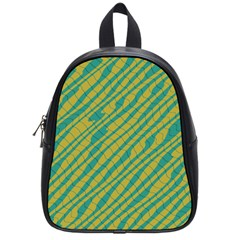 Blue Yellow Waves School Bag (small) by LalyLauraFLM