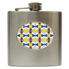 Colorful Rhombus Chains Hip Flask (6 Oz) by LalyLauraFLM