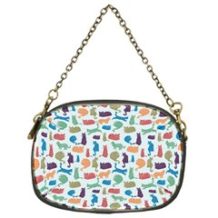 Blue Colorful Cats Silhouettes Pattern Chain Purses (one Side)  by Contest580383