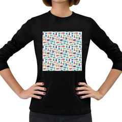Blue Colorful Cats Silhouettes Pattern Women s Long Sleeve Dark T Shirts by Contest580383