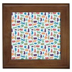 Blue Colorful Cats Silhouettes Pattern Framed Tiles by Contest580383