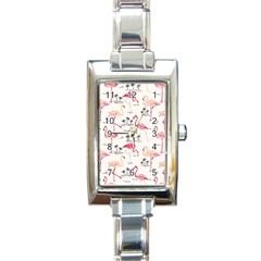 Flamingo Pattern Rectangle Italian Charm Watches