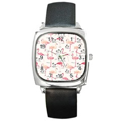 Flamingo Pattern Square Metal Watches
