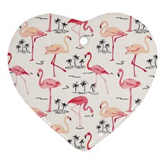 Flamingo Pattern Heart Ornament (2 Sides) by Contest580383