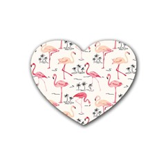 Flamingo Pattern Heart Coaster (4 pack)