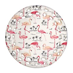 Flamingo Pattern Round Filigree Ornament (2Side)