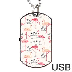Flamingo Pattern Dog Tag Usb Flash (two Sides)  by Contest580383