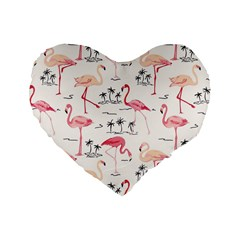 Flamingo Pattern Standard 16  Premium Heart Shape Cushions by Contest580383