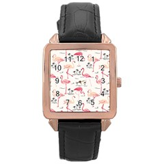Flamingo Pattern Rose Gold Watches