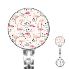 Flamingo Pattern Stainless Steel Nurses Watches
