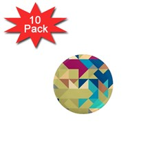 Scattered Pieces In Retro Colors 1  Mini Magnet (10 Pack)  by LalyLauraFLM