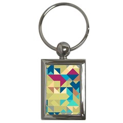 Scattered Pieces In Retro Colors Key Chain (rectangle) by LalyLauraFLM