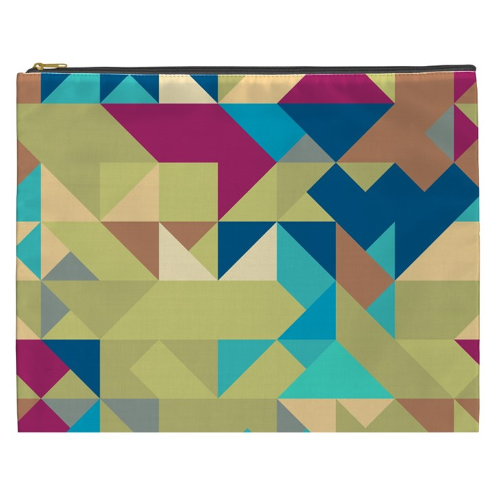 Scattered pieces in retro colors Cosmetic Bag (XXXL)