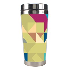 Scattered Pieces In Retro Colors Stainless Steel Travel Tumbler by LalyLauraFLM