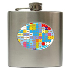 Circles And Rhombus Pattern Hip Flask (6 Oz) by LalyLauraFLM