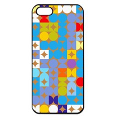 Circles And Rhombus Pattern Apple Iphone 5 Seamless Case (black) by LalyLauraFLM