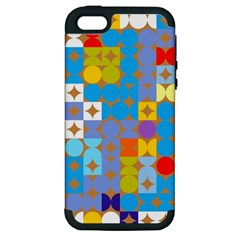 Circles And Rhombus Pattern Apple Iphone 5 Hardshell Case (pc+silicone) by LalyLauraFLM