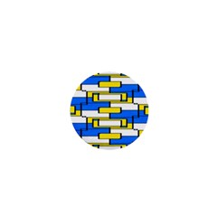 Yellow Blue White Shapes Pattern 1  Mini Button by LalyLauraFLM
