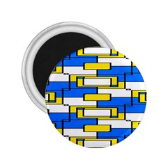 Yellow Blue White Shapes Pattern 2 25  Magnet by LalyLauraFLM