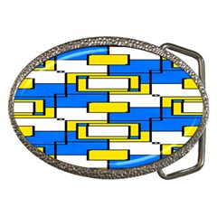 Yellow Blue White Shapes Pattern Belt Buckle by LalyLauraFLM
