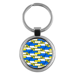 Yellow Blue White Shapes Pattern Key Chain (round) by LalyLauraFLM