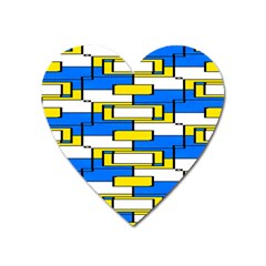 Yellow Blue White Shapes Pattern Magnet (heart) by LalyLauraFLM