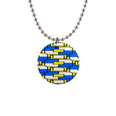 Yellow Blue White Shapes Pattern 1  Button Necklace