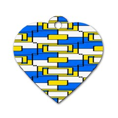 Yellow Blue White Shapes Pattern Dog Tag Heart (one Side) by LalyLauraFLM