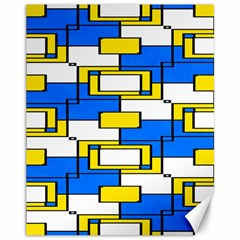 Yellow Blue White Shapes Pattern Canvas 11  X 14  by LalyLauraFLM