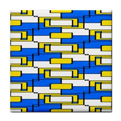 Yellow Blue White Shapes Pattern Face Towel by LalyLauraFLM