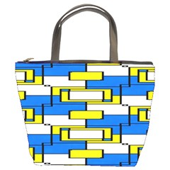 Yellow Blue White Shapes Pattern Bucket Bag by LalyLauraFLM
