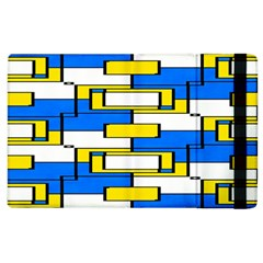 Yellow Blue White Shapes Pattern Apple Ipad 3/4 Flip Case by LalyLauraFLM