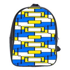 Yellow Blue White Shapes Pattern School Bag (xl) by LalyLauraFLM