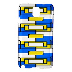 Yellow Blue White Shapes Pattern Samsung Galaxy Note 3 N9005 Hardshell Case by LalyLauraFLM